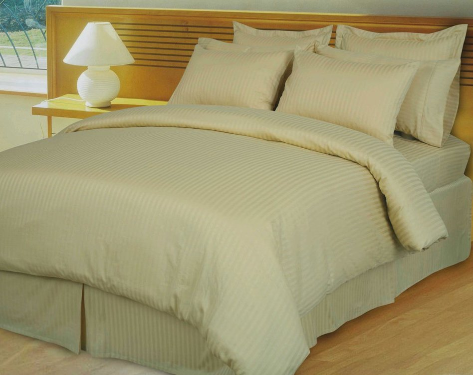 Home Opulent Decor Beige Tan Stripe Comforter Set