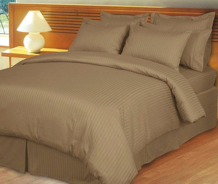 Taupe Striped Duvet Comforter Set
