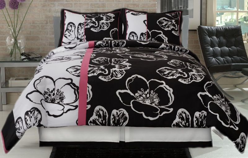 Comforter Set, Fun Floral Black And White Comfort Set With A Splash Of Hot Pink