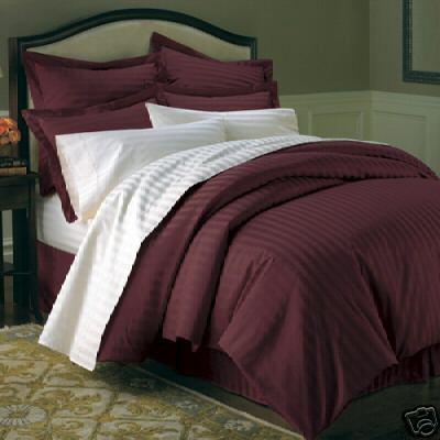 Sateen Stripe Burgundy Bedding Set