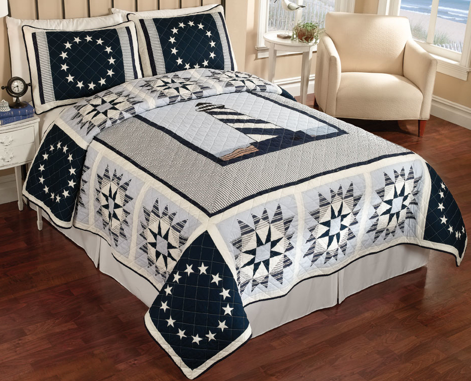 Quilts Blue Lighthouse Nautical Theme Quilt Bedspread And