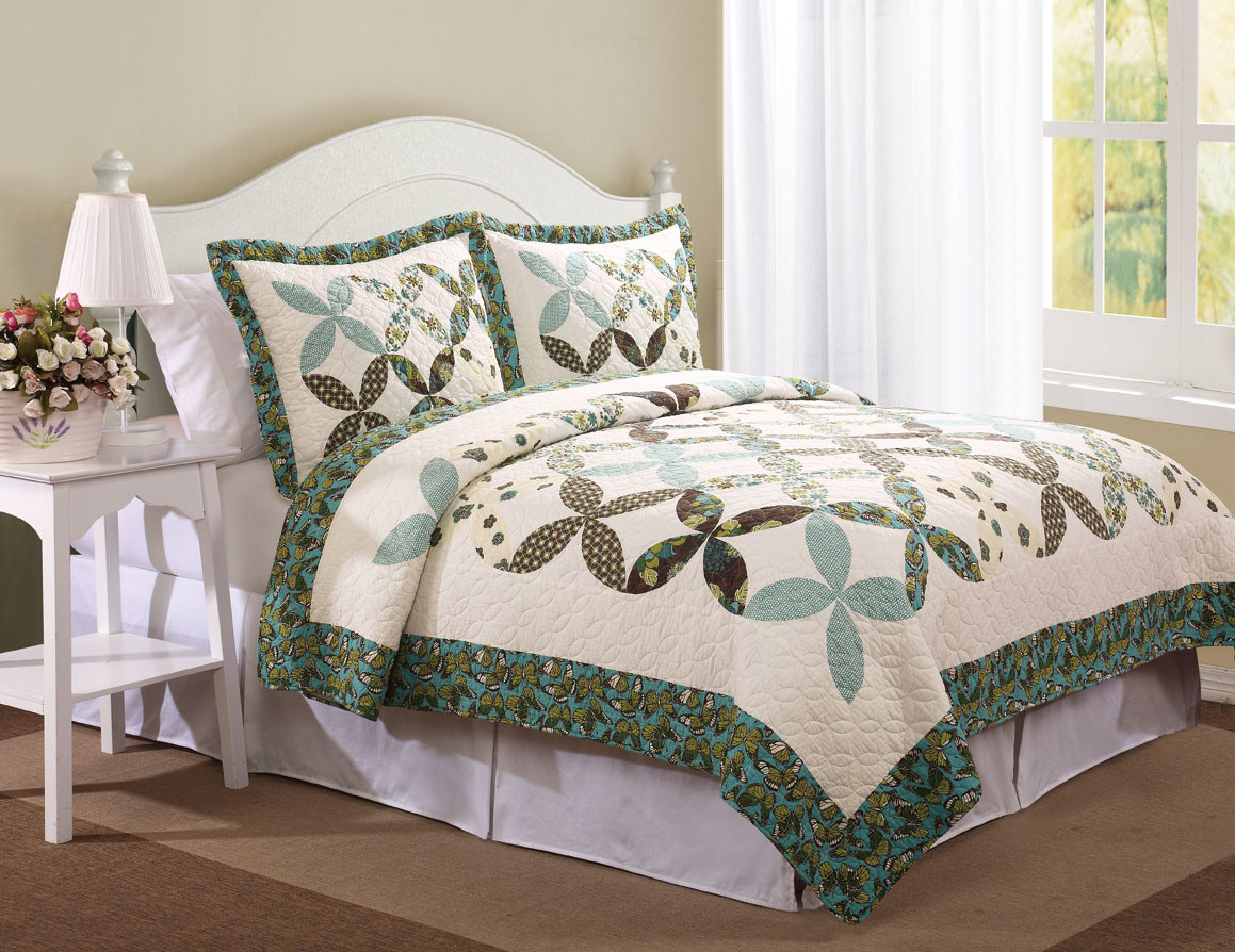 Quilts, Quilted Bedspread Country Cross Farfalla Set : country quilt set - Adamdwight.com
