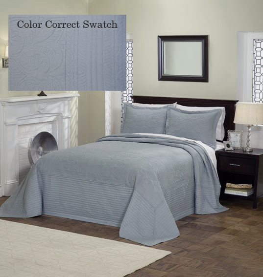 Dusty Blue Beautiful Quilted Bedspread