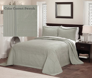 Tea Green French Tile Quilt Bedspread