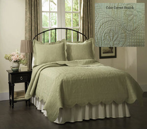 French Tile Quilted Tea Green Bedding