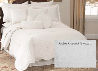 Quilted White French Scalloped Bedspread French Tile