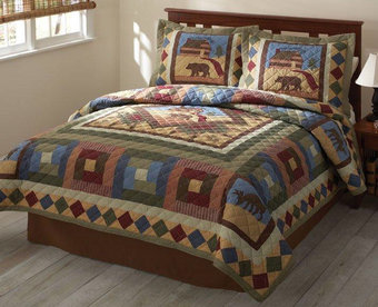Rustic Cabin Quilted Bedspread